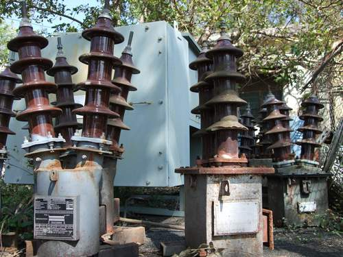 Outdated and damaged power equipment in a district headquarters, western Maharashtra, India