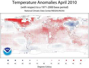 Temperature anomalies for April 2010 are shown on the dot maps below. The dot map on the left provides a spatial representation of anomalies calculated from the Global Historical Climatology Network (GHCN) dataset of land surface stations using a 1961–1990 base period. Image from State of the Climate, Global Analysis, April 2010, National Oceanic and Atmospheric Administration (NOAA), National Climatic Data Center