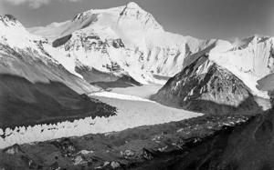 Asia Society-The 1921 photograph taken by George Mallory of the Rongbuk Glacier and the northern slope of Mount Everest in the distance, Tibet Autonomous Region
