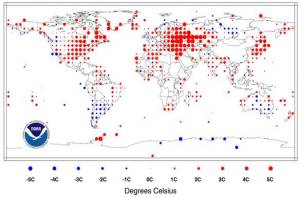 August 2010 Land Surface Temperature. Anomalies in degrees Celsius. Image: August 2010 global analysis of the National Climatic Data Center, National Oceanic and Atmospheric Administration