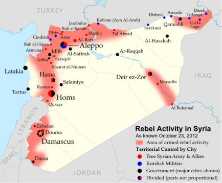 Map of the conflict areas and zones of uprising in Syria from Political Geography Now